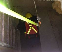 ERRRH emergency remote rescue retrieval hook lowered dow to rescu ethe worker in a confined space without entry